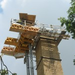 Bennu Scaffolding Platform Series 3 and 66ft. telehandler machines help disassemble Illinois Burbank School smoke stack