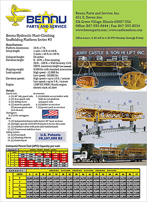 Bennu Hydraulic Mast-Climbing Scaffolding Platform Series #3 Automatic Power Unit (APU) spec sheet PDF
