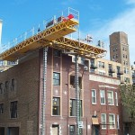 Jerry Castle and Son Hi-Lift Bennu Scaffolding Platform Series 2 - Killis Construction - Chicago, Lincoln Ave. jobsite
