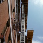 Jerry Castle and Son Hi-Lift - Bennu Scaffolding Platform Series 3 - Iwanski Masonry jobsite - Burbank School - Chicago