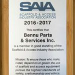 Scaffold & Access Industry Association SAIA certification plaque for Bennu Parts & Service