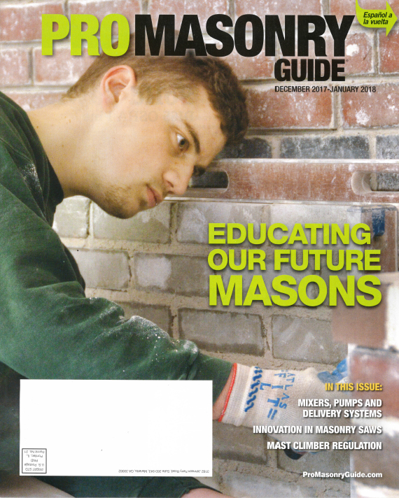 2017 Pro Masonry Magazine cover page December 2017 - January 2018